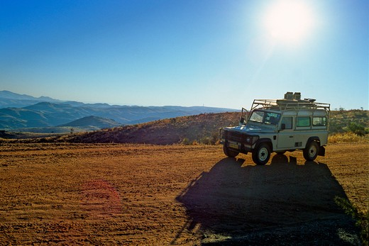 South Africa, Land Rover on road viewpoint : Stock Photo