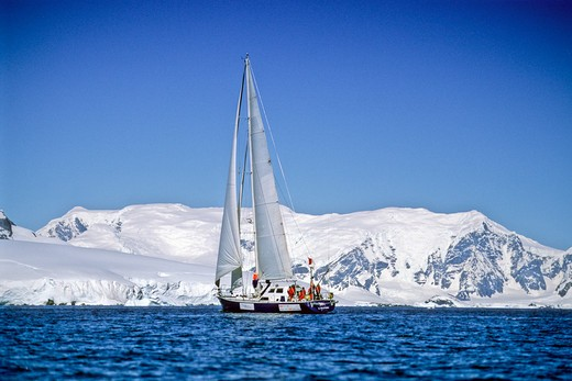 Stock Photo: 1885-22395 Antarctica, Antarctic Peninsula, Yacht in distance with white sail - antarctica coastline in background - blue skies