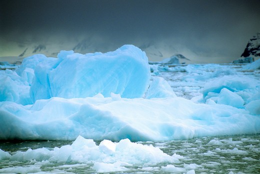 Antarctica, Antarctic Peninsula, Strange sea ice formations in blue sea fog : Stock Photo