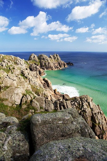Stock Photo: 1885-22687 UK - England, Cornwall, Porthcurno, A view of Logan Rock from Treen cliffs