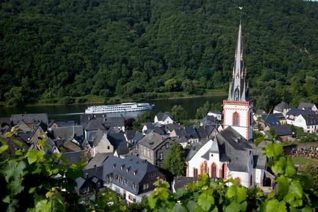 Germany, Rhineland-Palatinate, Koblenz, Ellenz Church & Cruise Boat on Mosel River : Stock Photo