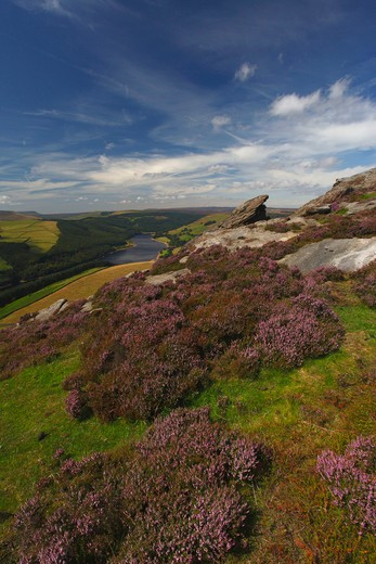 UK - England, Derbyshire, Derwent Edge, Ladybower reservoir from derwent edge : Stock Photo