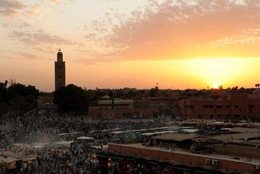 Stock Photo: 1885-23171 Morocco, Marrakech, Djemaa El Fna Central Medina at Night Marrakech