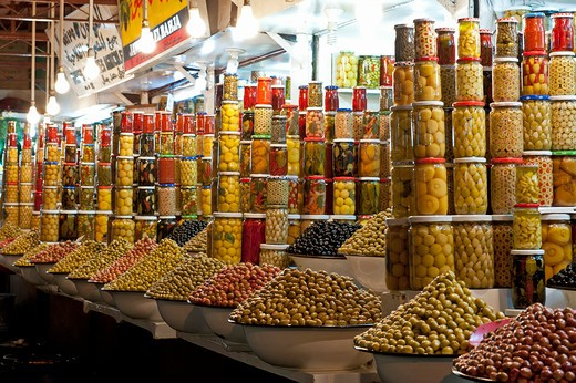Stock Photo: 1885-23183 Morocco, Marrakech, Olive Stalls at Night Marrakech
