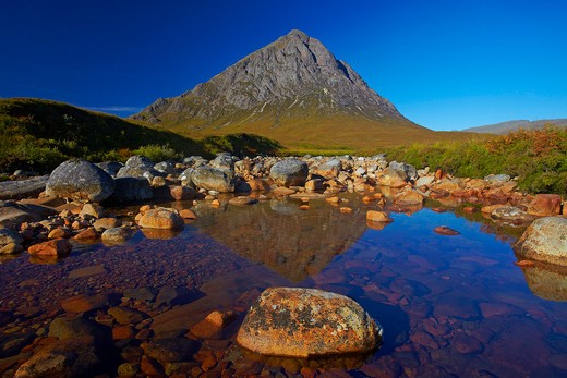 UK - Scotland, Highland, Rannoch Moor, View of Buchaille Etive Mor : Stock Photo
