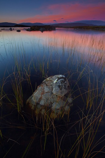 UK - Scotland, Highland, Rannoch Moor, Sunset over Lochan nah-achlaise on Rannoch Moor : Stock Photo