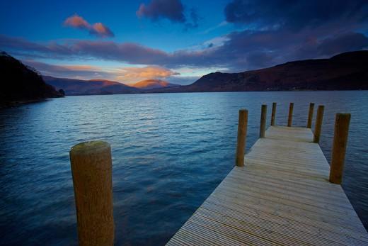 UK - England, Cumbria, Derwentwater, View across Derwentwater from Brandelhow Jetty : Stock Photo