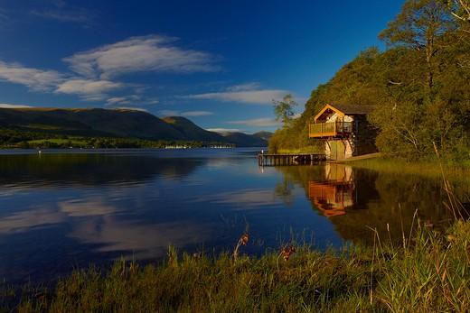 UK - England, Cumbria, Ullswater, The Duke of Portland Boathouse on Ullswater : Stock Photo