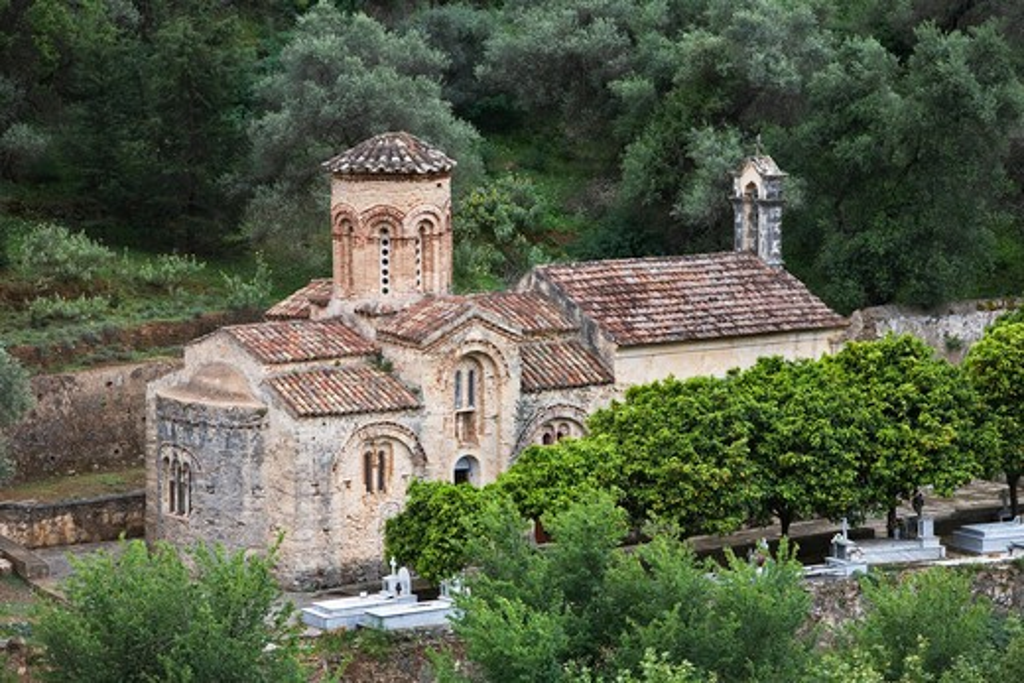 Greek Islands, Crete, Ayios Nikolaos, Byzantine church : Stock Photo