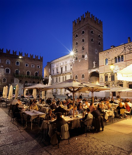 Italy, Veneto, Verona, Outdoor restaurant in the old town at night : Stock Photo