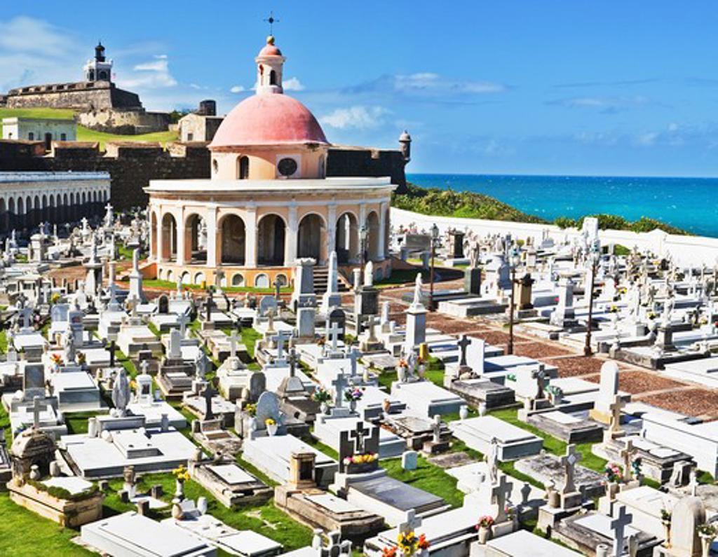 Stock Photo: 1885-23689 Caribbean, Puerto Rico, San Juan, San Juan Cemetery and El Morro fort
