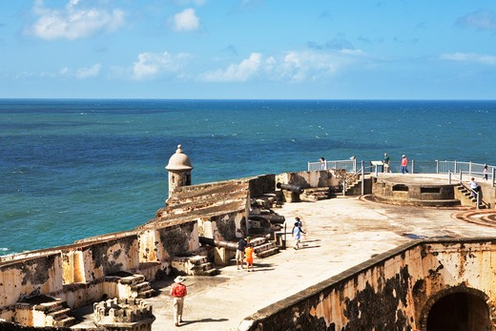 Stock Photo: 1885-23698 Caribbean, Puerto Rico, San Juan, El Morro fort and Atlantic Ocean