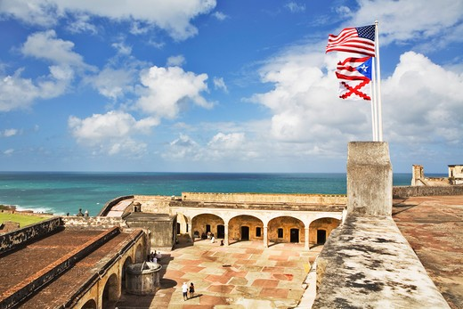 Caribbean, Puerto Rico, San Juan, Courtyard of San Cristobal fort : Stock Photo
