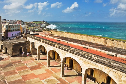 Stock Photo: 1885-23713 Caribbean, Puerto Rico, San Juan, Courtyard of San Cristobal fort