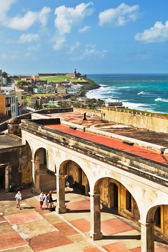 Stock Photo: 1885-23714 Caribbean, Puerto Rico, San Juan, Courtyard of San Cristobal fort