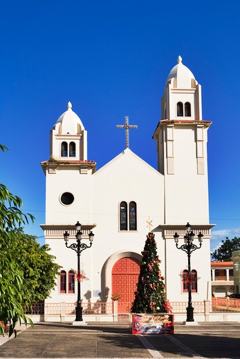 Caribbean, Puerto Rico, Quebradillas, Church with Christmas tree : Stock Photo