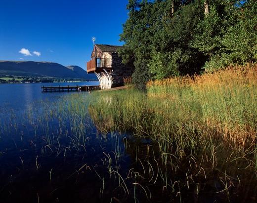 UK - England, Cumbria, Ullswater, Lake with boathouse and jetty : Stock Photo