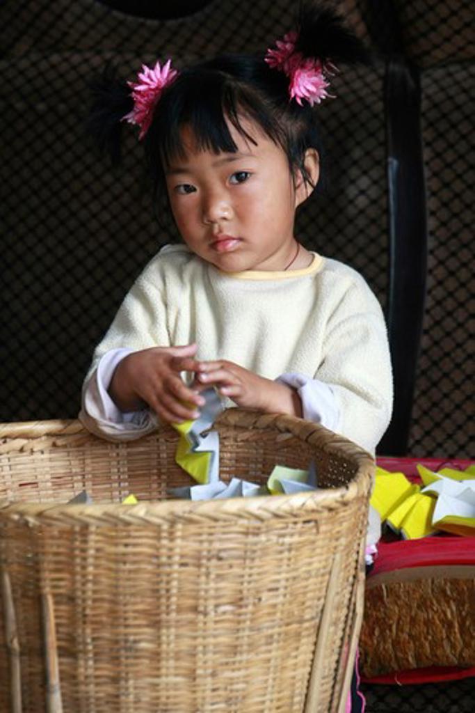 China, Dali - near, Young girl on Jinsuo Island : Stock Photo
