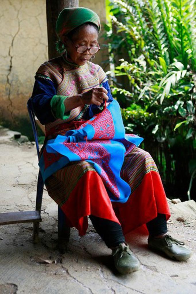 Stock Photo: 1885-24288 Vietnam, Bac Ha - near, Flower Hmong woman