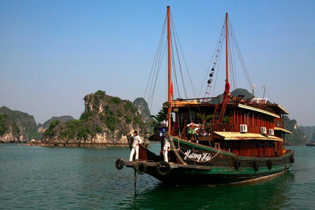 Vietnam, Ha Long Bay, A junk in bay : Stock Photo
