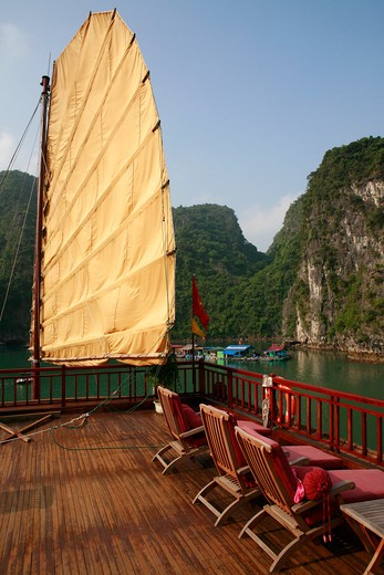 Stock Photo: 1885-24314 Vietnam, Ha Long Bay, View from a junk in bay