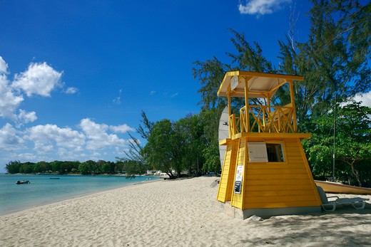 Caribbean, Barbados, Holetown - near, Lifeguard station on the beach : Stock Photo