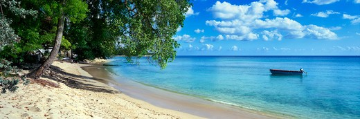 Caribbean, Barbados, Speightstown - near, Beach scene with boat : Stock Photo