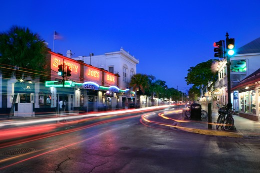 USA, Florida, Key West, Duval Streeet at night : Stock Photo