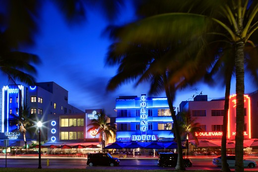 USA, Florida, Miami, Ocean Drive at night : Stock Photo