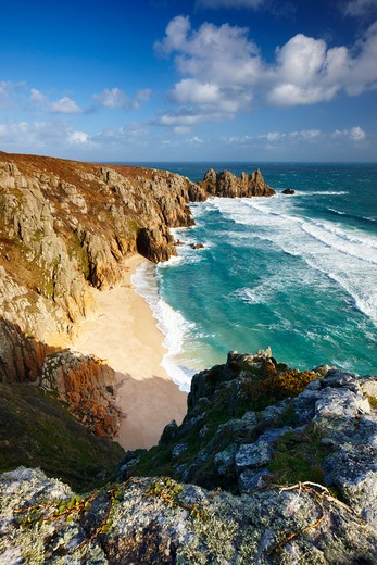 Stock Photo: 1885-24831 UK - England, Cornwall, Porthcurno, View along rugged coastline