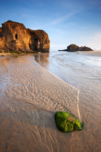 UK - England, Cornwall, Perranporth, Beach scene with natural rock arch : Stock Photo