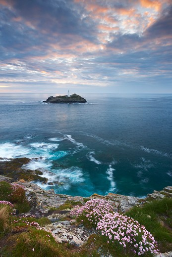Stock Photo: 1885-24860 UK - England, Cornwall, St Ives - near, View to Godrevy Lighthouse at sunset
