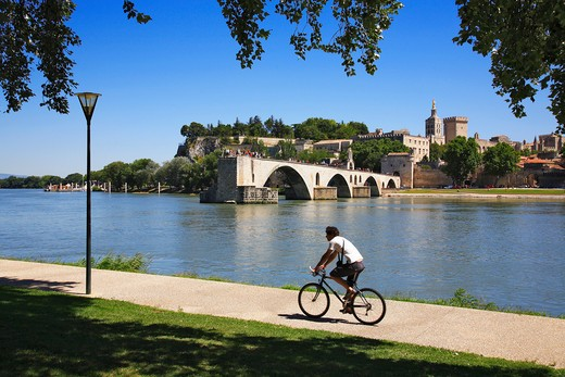 Stock Photo: 1885-25053 France, Provence, Avignon, Pont d Avignon and Rhone River