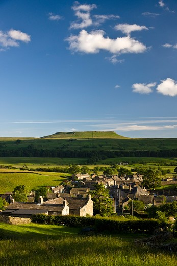 UK - England, Yorkshire, Askrigg, View over village in Wensleydale : Stock Photo