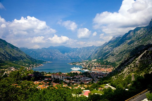 Stock Photo: 1885-25501 Montenegro, Kotor, View over town and bay