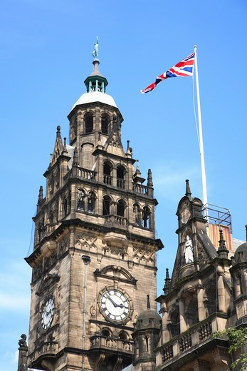 Stock Photo: 1885-25554 UK - England, Yorkshire, Sheffield, Town Hall clock tower