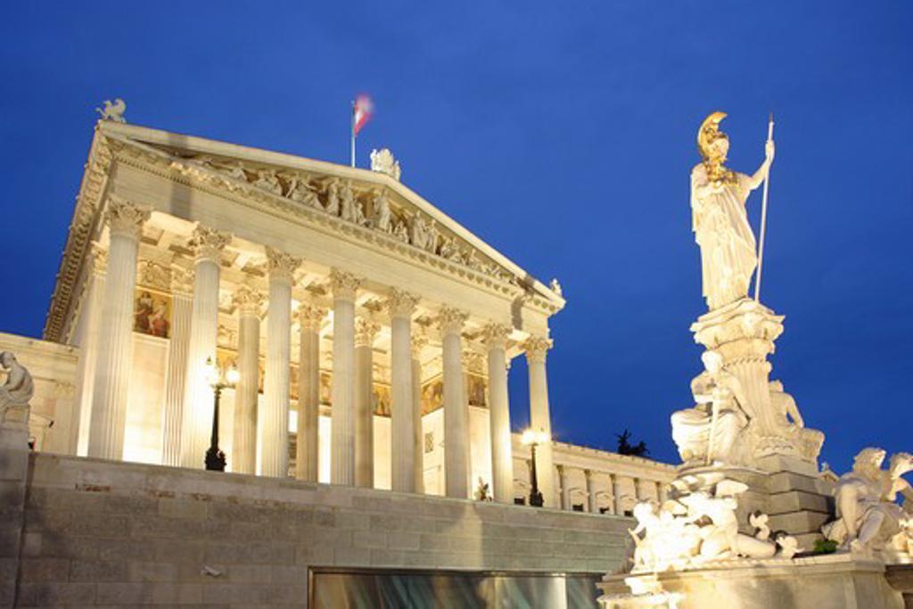 Austria, Vienna, Parliament at night : Stock Photo