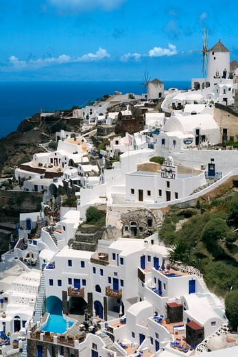 Greek Islands, Santorini Island, Oia, View over town and sea : Stock Photo