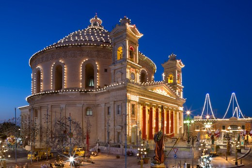 Maltese Islands, Malta, Mosta, Mosta Dome decorated for the Feast of the Assumption : Stock Photo