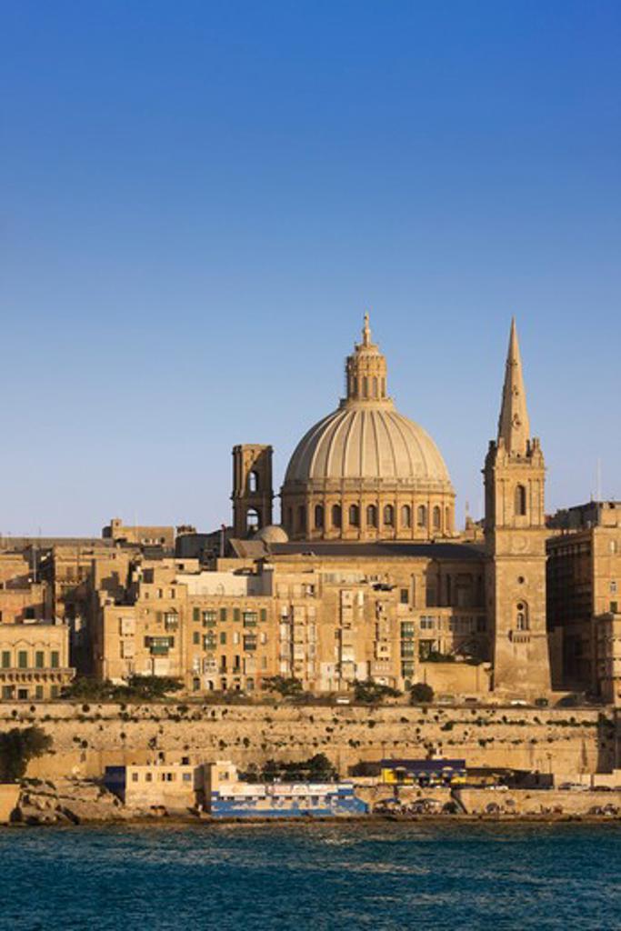 Maltese Islands, Malta, Sliema, View of Valletta from Sliema : Stock Photo