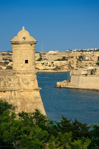 Maltese Islands, Malta, Valletta, Watchtower and view across Grand Harbour : Stock Photo
