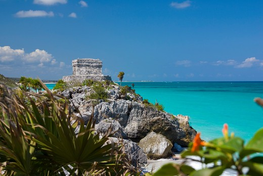 Mexico, Quintana Roo, Tulum, View to the Temple of the Wind : Stock Photo