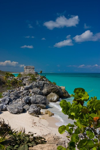 Mexico, Quintana Roo, Tulum, View over beach to Temple of the Wind : Stock Photo