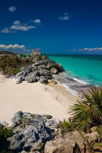 Stock Photo: 1885-26028 Mexico, Quintana Roo, Tulum, View over beach to Temple of the Wind