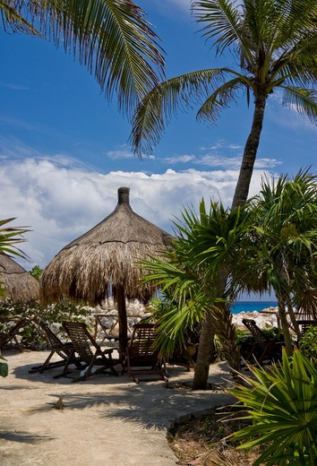 Mexico, Quintana Roo, Xcaret, Parasol and chairs : Stock Photo