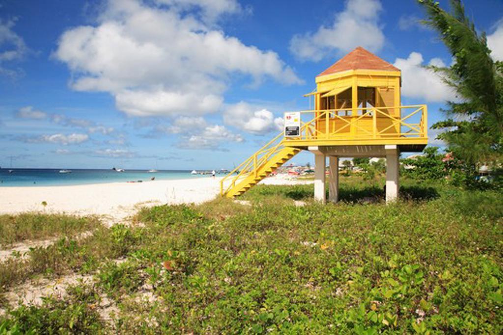 Caribbean, Barbados, Bridgetown, Lifeguard station on Pebbles Beach : Stock Photo