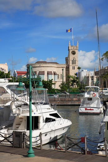 Caribbean, Barbados, Bridgetown, View to Parliament Building over harbour : Stock Photo