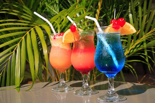 Stock Photo: 1885-26341 Caribbean, Barbados, St Michael, Colourful cocktails