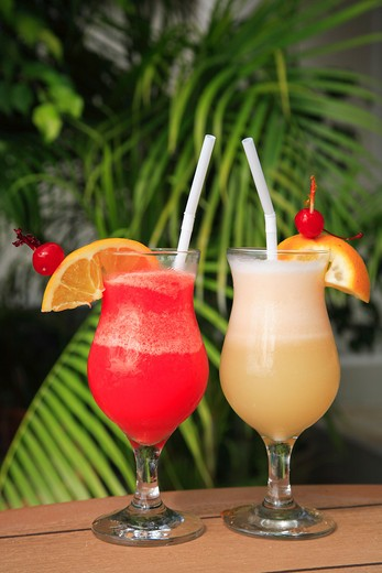 Stock Photo: 1885-26345 Caribbean, Barbados, St Michael, Colourful cocktails