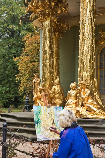 Germany, Brandenburg, Berlin, The Chinese House - sculptures and artist : Stock Photo
